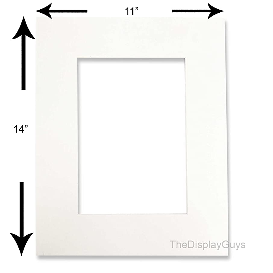 The Display Guys, Pack of 10pcs, Acid-Free White Pre-Cut 11x14 inches Picture Mat for 8x10