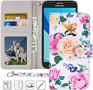 Galaxy J7 Prime Wallet Case,MagicSky J7 Perx,J7 Sky Pro,J7 V (SM-J727) Halo Case Floral PU Leather Flip Folio Case Cover with Wrist Strap,Card Holder,Kickstand for Samsung Galaxy J7 2017,Flower