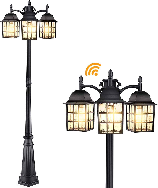 Dusk to Dawn Sensor Outdoor Lamp Post Lights, Street Light with Triple Head, Waterproof Pole Lights, Matte Black Light Fixtures, Lantern Lamp, Outside Lighting for Driveway, Backyard, Patio, Garden