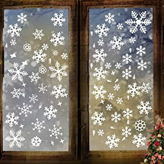AriTan Christmas Snow Window Clings Stickers Decorations for Kids Boys and Girls, Flexible Reusable No Glue Double Sided