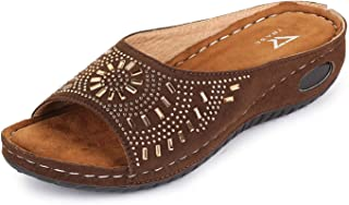 TRASE Erica Beige Brown Soft Comfortable Fancy Slippers for Women