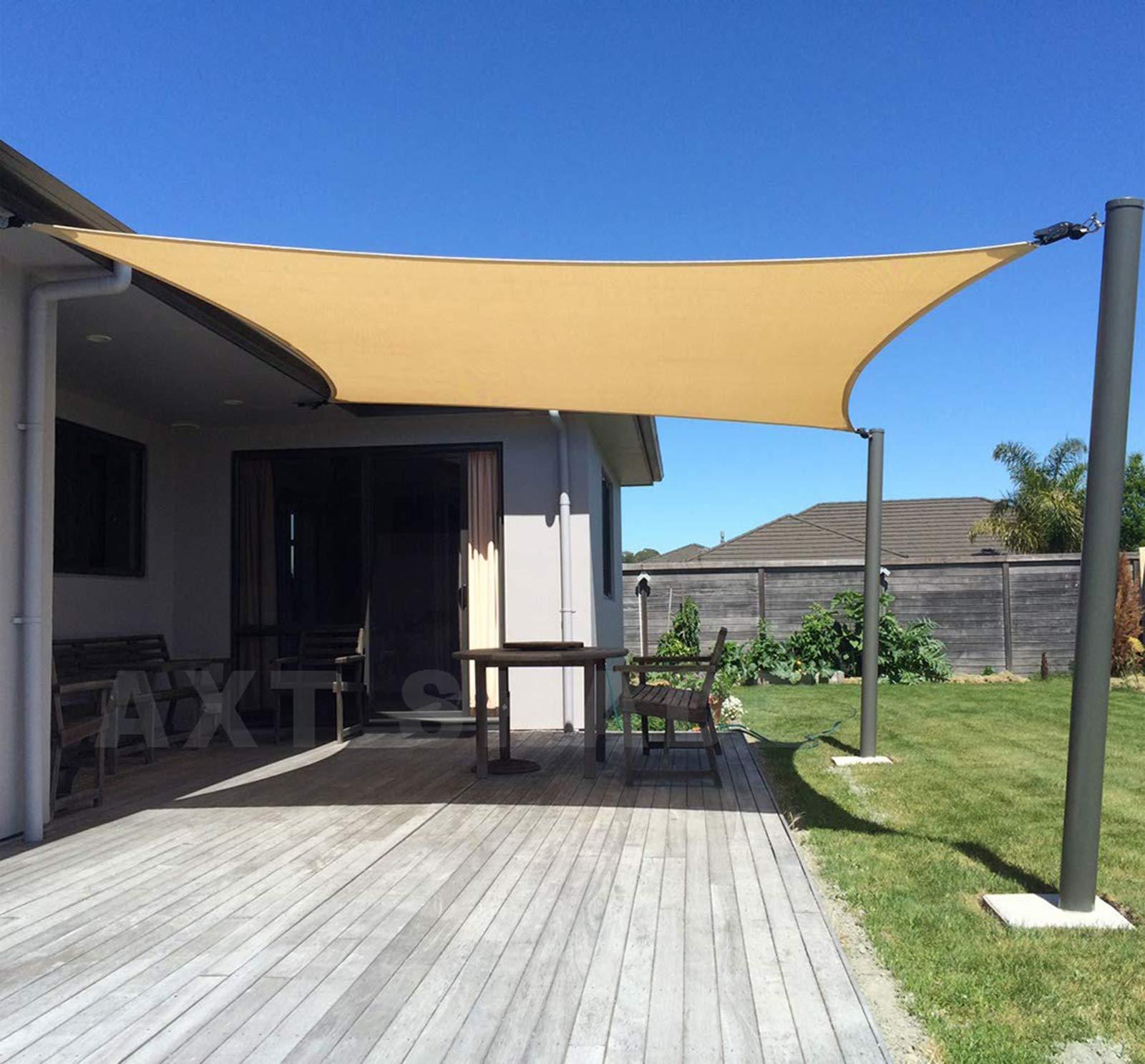 AXT SHADE Toldo Vela de Sombra Rectangular 2 x 3 m, protección Rayos UV y HDPE Transpirable para Patio, Exteriores, Jardín, Color Arena: Amazon.es: Jardín