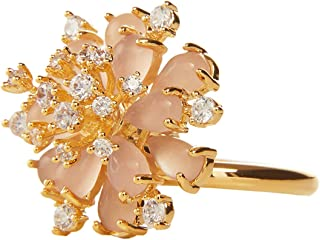 MOONSTONE Fashion Finger Ring For Women Bulk Flower Acrylic Petal with Multi Crystals, Adjustable Size, Gold