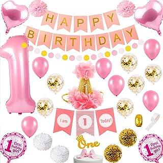 First Girl Birthday Decorations Set - 1ST Girl Birthday Decor | High Chair Decorations,Number 1 balloon,1st Bday Hat,Cake ...