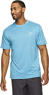 HEAD Men's Hypertek Crewneck Gym Tennis & Workout T-Shirt - Short Sleeve Activewear Top - New York Cyan Blue Heather, Small