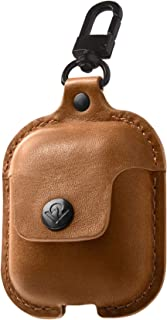 Twelve South 1803 Air Snap Leather Protective Case with Loss Prevention Clip and Wireless Charging Case for Air Pods - Brown