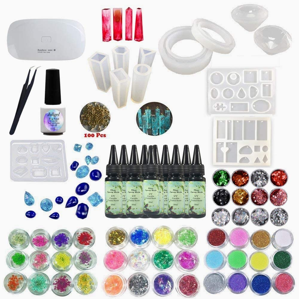 160ml Resina UV Epoxi Pegamento 10 Moldes 17 Biseles 13 Pigmento de colores 12 Purpurina Kit resina para hacer manualidades DIY joyas joyer/ía colgantes pendientes pulseras L/ámpara Portable