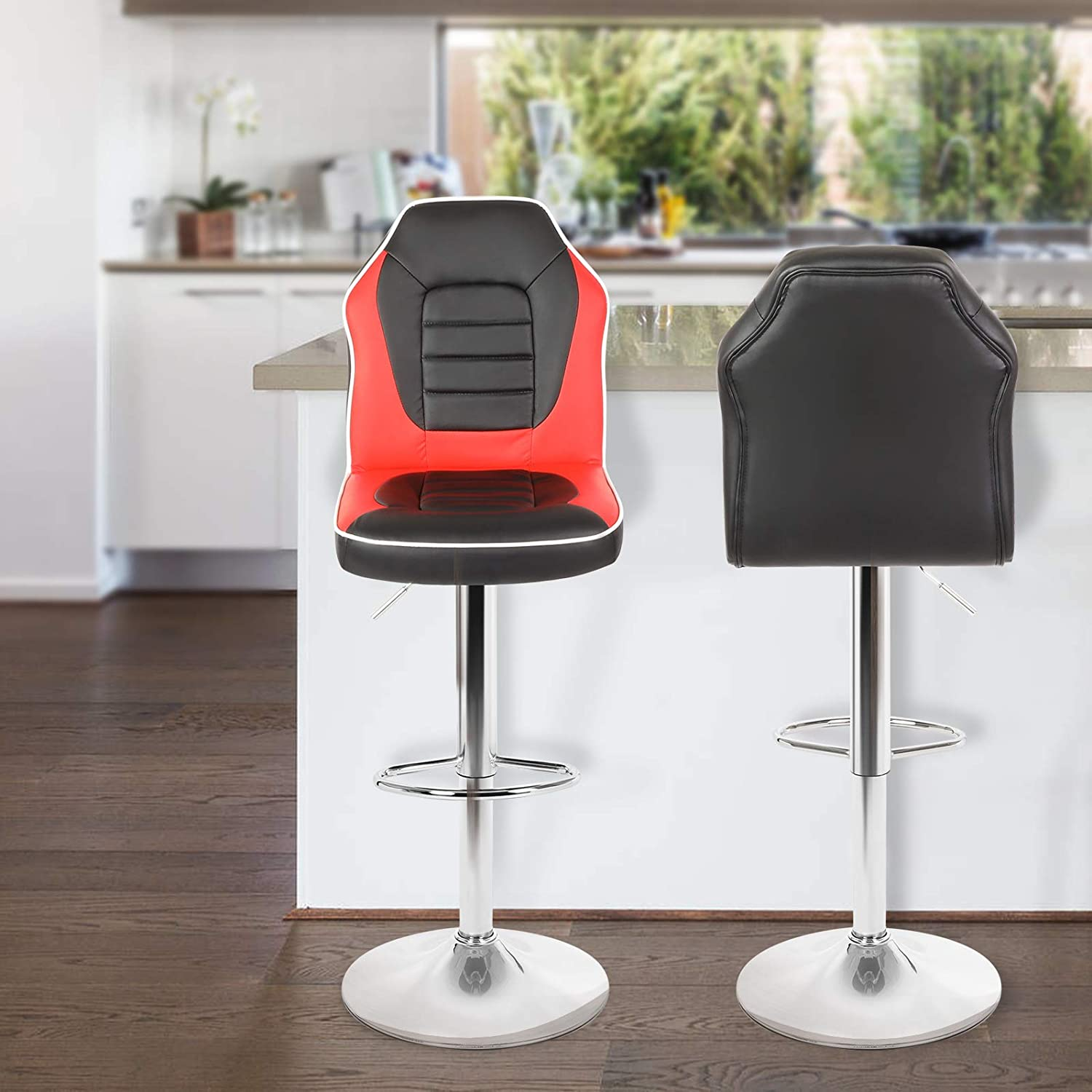 Extra Comfort Modern Racing Seat Bar Stools Chair Adjustable Swivel Mixed  Color Set of 9 Black/Red
