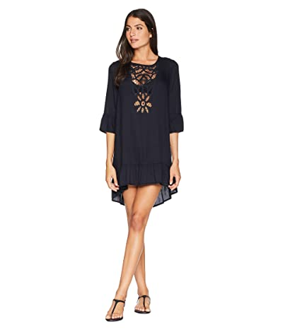 Roxy Goldy Soul Long Sleeve Dress Cover-Up (True Black) Women