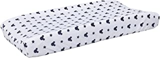 Disney Mickey Mouse Hello World Star/Icon Super Soft Changing Pad Cover, Navy, White
