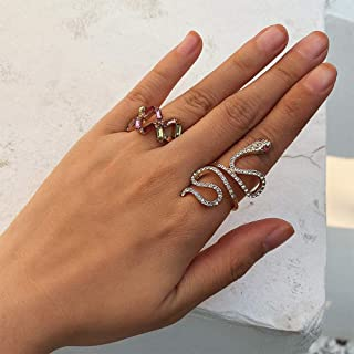 Aimimier Bohemian Stackable Joint Knuckle Ring Set Colorful Crystal Snake Midi Ring Set of 3 Vintage Finger Rings for Wome...