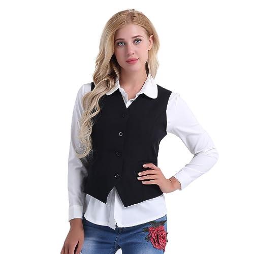 a997a3d4793 Freebily Office Lady Vest Women Short Waistcoat Business Dress V Neck  Uniform Formal
