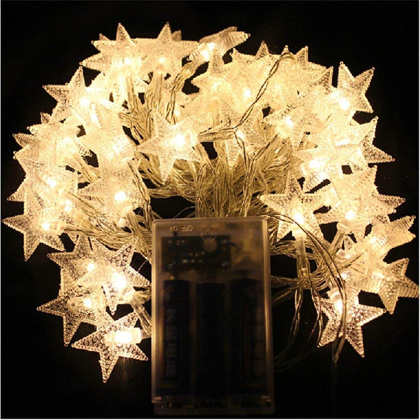 ハードパラメータアプローチイルミネーションライト ストリングライト LED 6m 星型 電球数40 電池式 星型 点滅ライト 室内 室外 コンセント不要 結婚式 パーティー 庭 防水 ウォームホワイ