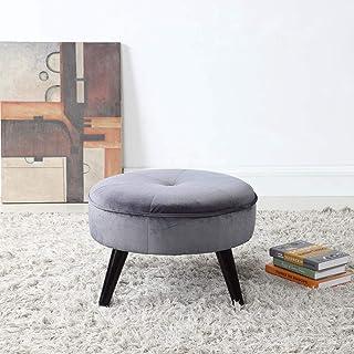 Divano Roma Furniture Round Tufted Velvet Footrest, Footstool, Coffee Table