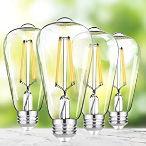 4-Pack 8W Vintage Dimmable LED Dimmable Edison Light Bulb 100W Equivalent, 1200Lumens, 5000K Daylight White, CRI 90+, E26 Base LED Filament Bulbs, Antique Glass Style for Home Reading Room Bathroom