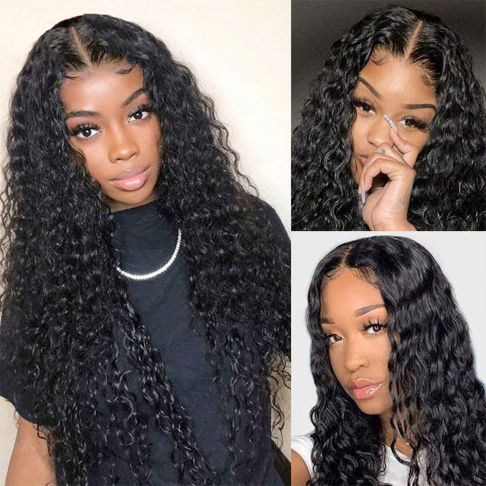 Middle Part Lace Year-end gift Front Wig Human I Curly National uniform free shipping Wigs 100% Hair 10A