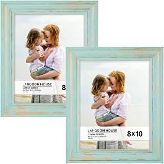 Langdon House 8x10 Real Wood Picture Frames (2 Pack, Eggshell Blue - Gold Accents), Wooden Photo Frame 8 x 10, Wall Mount or Table Top, Set of 2 Lumina Collection