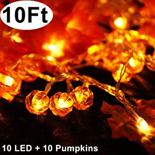 Thanksgiving Decorations Lighted Fall Garland with Pumpkins Maple Leaves 10 Ft 20 LED Waterproof String Lights for Home Fireplace Stairs Window Decor Indoor Outdoor - Autumn Lights 3AA Battery Powered