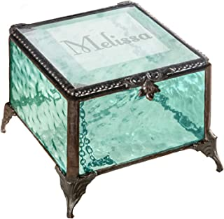 Personalized Gift for Women Girls Engraved Glass Box Decorative Vanity Jewelry Display Storage Organizer Keepsake Vintage Decor Clear Blue J Devlin Box EB217-1 (Windsor Blue)