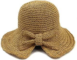 Summer hat Spring Summer New Women's Fold Outdoor Sunscreen Beach Sun Hat Visor Handmade Crochet Shuck Hat Bow hat (Color : Coffee, Size : 56-58CM)