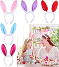 Plush Bunny Ears Headband Cute Rabbit Ears Hairbands for Easter Party Favor Decoration Headdress Costume Cosplay Accessory (5 Pack, Red, Pink, Blue, Purple, Rose Red)