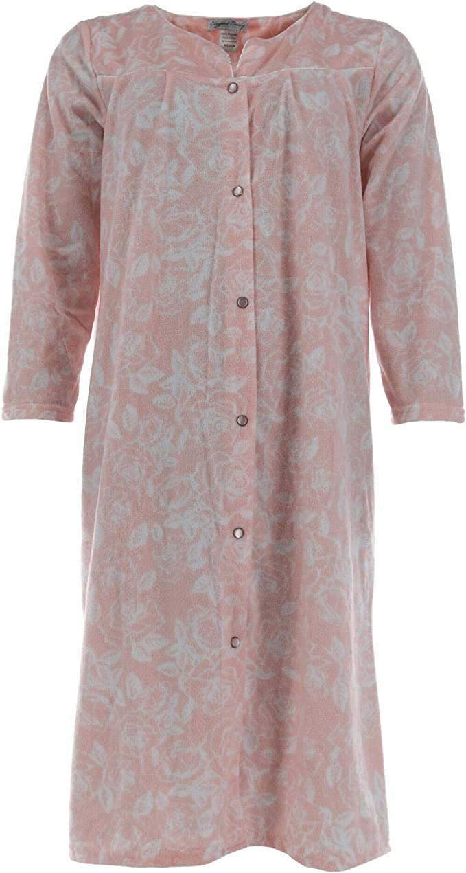 Elegant Emily Womens Tropical Floral Green Cotton Blend Duster Housecoat