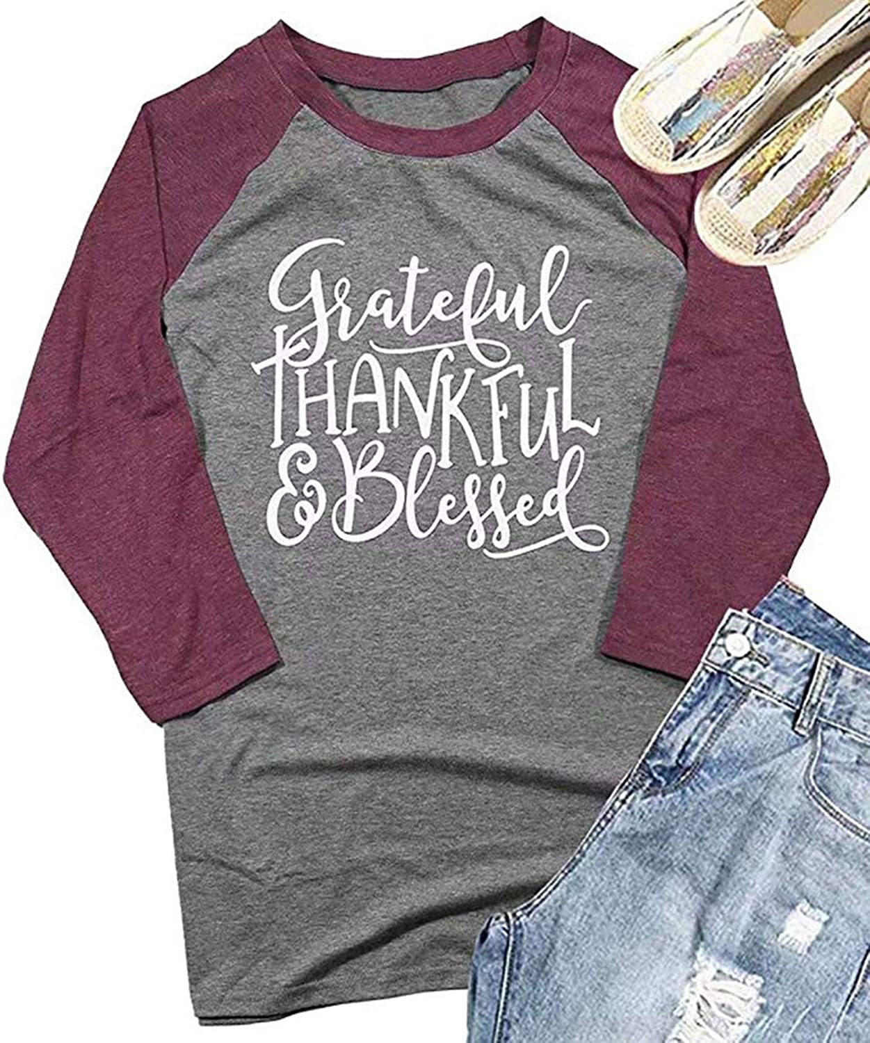 ALLTB Grateful Thankful Blessed Thanksgiving T Shirts Womens 3 4 Sleeve ONeck Splicing Baseball Tees Tops