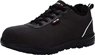 LARNMERN Steel Toe Shoes Men, Work Safety Sneakers Warm Faux-Fur Lined Winter Construction Industrial Shoe