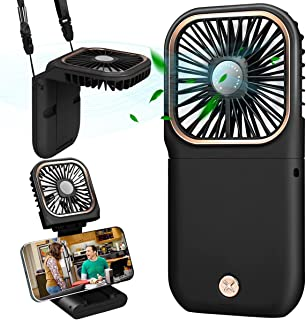 DAVID ROCCO Handheld Fan with Power Bank, 2021 upgrade Small Personal Fan with 3 Speeds Neck Fan Rechargeable Portable Fa...