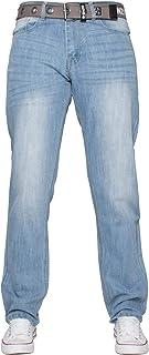 "Enzo Mens Straight Leg Belted Jeans Regular Fit Denim Pants Big Tall All Waist Sizes 28""- 48"""