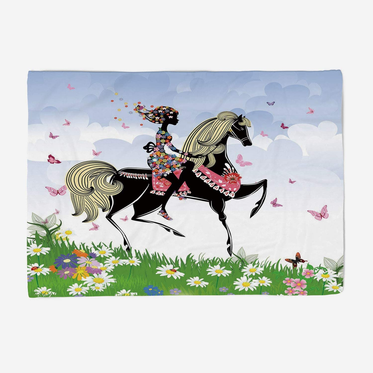 YOLIYANA Throw Blanket Super Soft and Cozy Fleece Blanket Perfect for Couch Sofa or Travelling 59x49 inches Horse Decor,Floral Girl Riding Pony in Fantasy Spring Field Butterflies Daisies Girls
