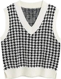 Gilet in maglia da donna con scollo a V, senza maniche, con spacchetti laterali, alla moda e femminile