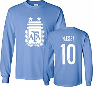 Argentina Soccer Shirt Lionel Messi #10 Jersey Men's Long Sleeve T-Shirt