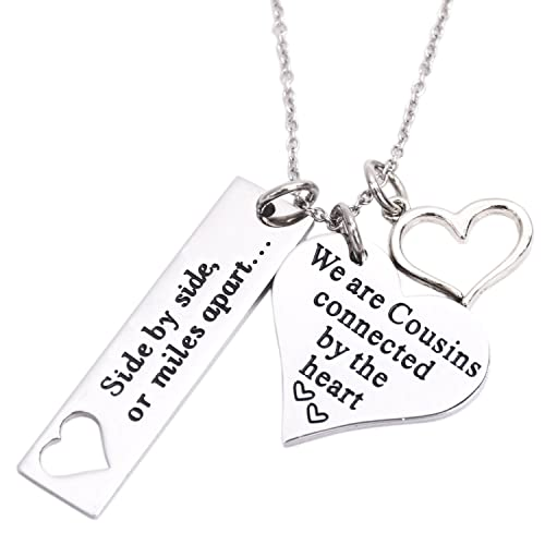 LParkin Cousin Necklace Side By Or Miles Apart We Are Cousins Connected The Heart