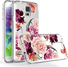 LUOLNH Galaxy S5 Case,Samsung Galaxy S5 Case with Flower,Slim Shockproof Clear Floral Pattern Soft Flexible TPU Back Cover for Samsung Galaxy S5 is V I9600 (Purple)