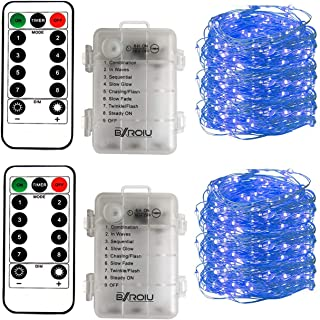 BXROIU 2 x Fairy String Lights Battery Operated, Silver Wire 8 Mode Chains 16.5ft 50 LEDs Firefly String Lights with Remote Control for Bedroom Christmas Party Wedding Decoration (Blue)