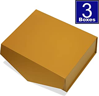 Cohaja Matte Gold Gift Box with Lid | 3 Pack | 12 x 9 x 4 Inch | Magnetic Closure | Multiple use | Decorative Gift or Storage Boxes for Bridesmaid Proposals, Favors, Weddings, Office and More