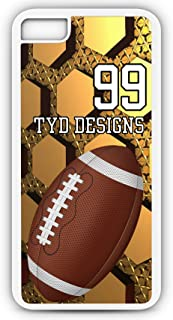 iPhone 8 Plus Football Case Fits iPhone 8 Plus or iPhone 7 Plus Designer Tough Cell Phone Case with Any Jersey Number Team Name in White Plastic Black Rubber F1032 by TYD Designs