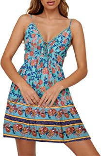 Womens Sexy Deep V Neck Spaghetti Straps Floral Printed Swing Mini Dress