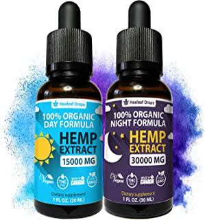 2-Pack Hemp Oil Extract for Pain, Anxiety & Stress Relief - New Day & Night Formula - 15,000mg & 30,000mg - 100% Organic H...