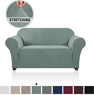 1 Piece Jacquard High Stretch Loveseat Slipcover Polyester Spandex Sofa Cover for 2 Cushion Couch Stylish Furniture Protector Cover for Sofa and Couch Machine Washable (Loveseat, Sage)