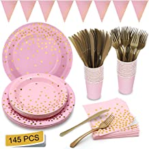 Pink and Gold Party Supplies Golden Dot Pink Themed Party Decoration Set Includes Paper Plates Napkins Knives Forks Cups Banner for Bachelorette, Girl Birthday, Baby Shower, Serves 24