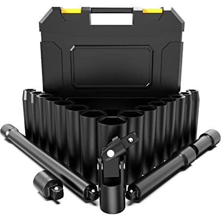 ✔ 2x Verl/ängerung ✔ 1//4 Adapter ✔ HASKYY/® Schlagschrauber N/üsse Set 10-27mm 1//2 19 tlg