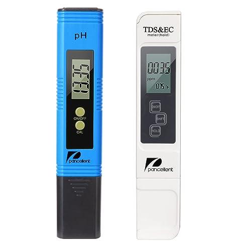 Pancellent Mètre de Test de qualité de l'eau TDS PH EC 4 en 1 Set (Bleu)