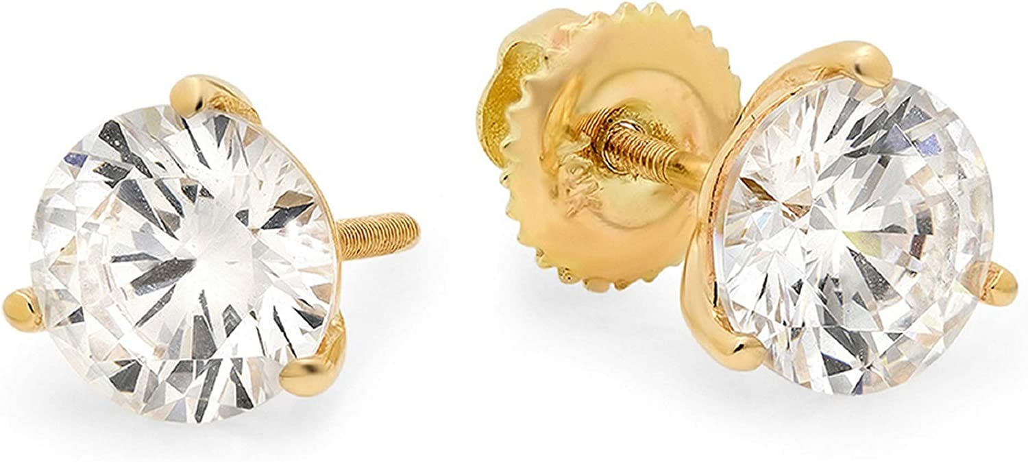 0.9ct Brilliant Round Cut Solitaire Fine Genuine White Created Sapphire Unisex Pair of 3-prong Stud Martini Earrings Solid 14k Yellow Gold Screw Back Clara Pucci conflict free Jewelry