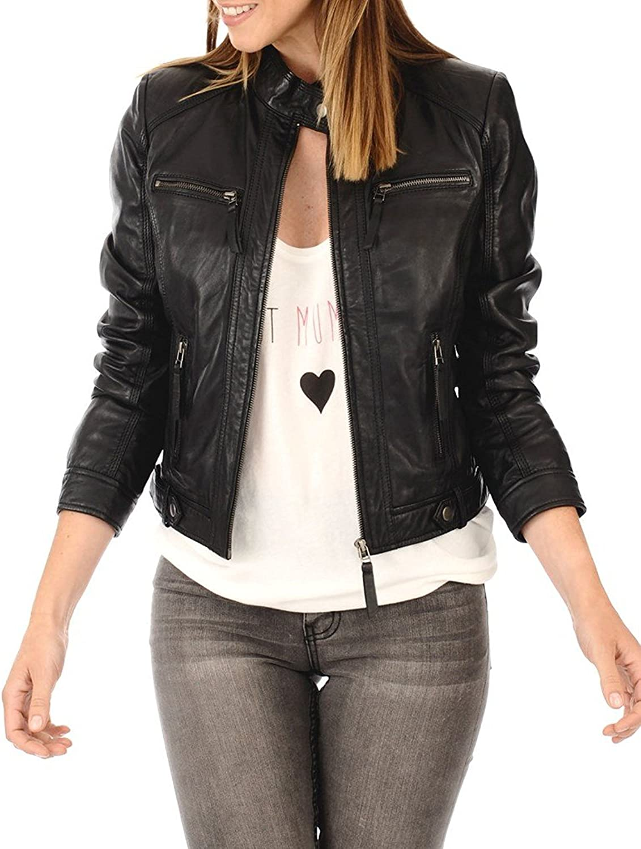 SID Women's Lambskin Leather Zipper Front Jacket, Biker Jacket