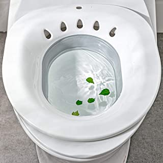 Foldable Sitz Bath for Over The Toilet,Bath Washing Hip Basin,Portable Bidet Fits on Toilet Perineal Soaking for Hemorrhoid Relief,Pregnant Women,Elderly(Anti-spilling Design)