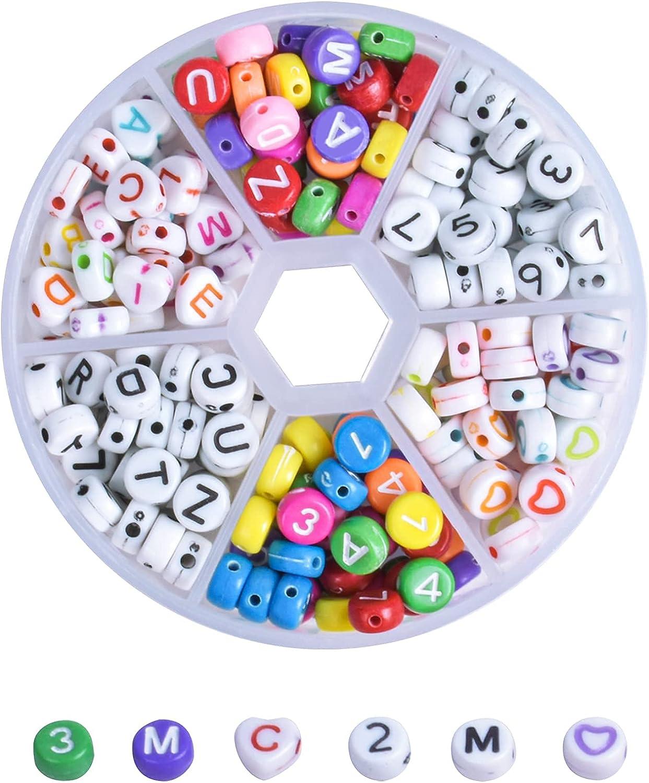 Cuentas del Alfabeto Redondo, 240 Piezas 7mm Colores Cuentas Alfabeto Multicolor Mezclado Acrílico Número Letras Cuentas Cuentas de Corazón para Pulseras DIY Manualidades