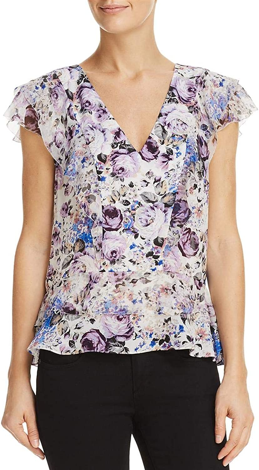 Parker Womens Evelyn Silk Floral Print Blouse