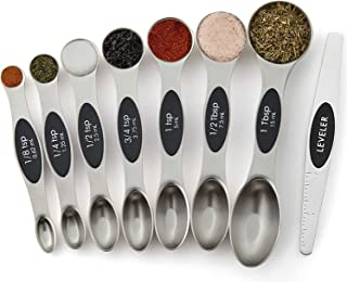 Stainless Steel Magnetic Measuring Spoons, Dual Sided, Set of 8 for Measuring Dry and Liquid Ingredients